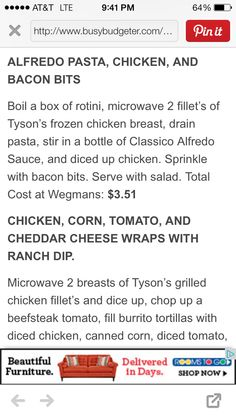 Alfredo pasta, chicken and bacon bits