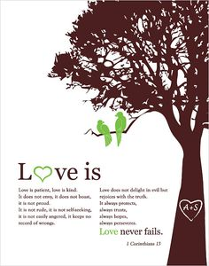 1 corinthians 13 Love is patient Personalized by fancyprints(etsy). Cute Quotes, Words Quotes, Wise Words, Sayings, Marriage Relationship, Love And Marriage, 1 Corinthians 13 Love, Tree Wedding, Wedding Stuff