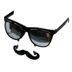 Private Island Party  - Flip Up Mustache Sunglasses Black WS7402, 1 Dozen Buy in Bulk for your next party!
