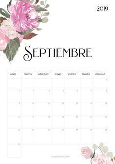 Calendario para imprimir septiembre 2018 #freebie #calendario #calendar #septiembre #flowers #nature #papeleria #stationary Diy Agenda, Agenda Planner, Cute Planner, Monthly Planner, Planner Pages, Happy Planner, Planner Stickers, Calendar 2019 Printable, Printable Labels