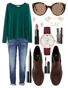 """""""My heart goes out to Paris❤️"""" by emmacaseyyyy ❤ liked on Polyvore featuring Madewell, H&M, Jeweliq, Illesteva, Bourbon and Boweties, NARS Cosmetics, Kate Spade and Bobbi Brown Cosmetics"""