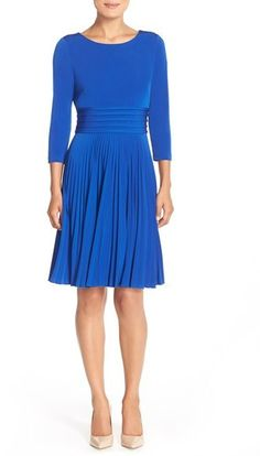 Eliza J Pleated Jersey Fit & Flare Dress