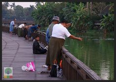 Paradise in the Heart of Yangon: Kandawgyi Lake & The Karaweik. Just like on every other bridge in the world… the fishermen! Myanmar (Burma) Travel Photobog. Join us on our journey:  www.myanmartravelessentials.com Like us on Facebook: www.facebook.com/myanmartravelessentials