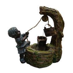 Boy Fetching Water Garden Fountain