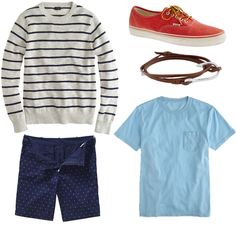 DOT DAD  Need a gentle way to ease dad into printed shorts? These pindot shorts fit the bill - navy background, small white dots, with the occasional red dot for fun. Finish it off with a light blue t-shirt, striped sweater, and red sneakers. Throw in a nautical-inspired leather bracelet and he's set to sail the seven seas! Or at least an evening on the boat.....    Splatter Polka-dot Shorts by Bonobos(see above). Sweater, t-shirt, sneakers by J Crew. Bracelet by Miansai.