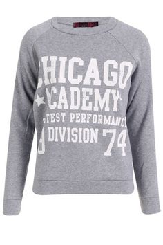 Chicago Academy Print Sweat Top - Grey