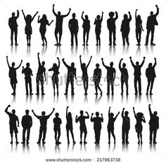 Silhouette Group of People Standing and Celebration