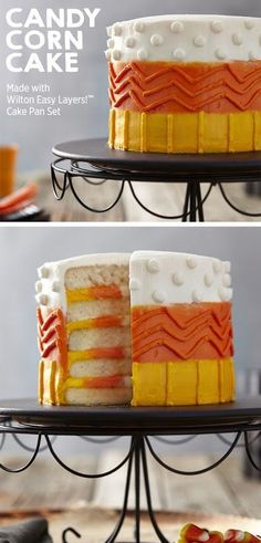"Create this cool candy corn 5-layer cake for your Halloween parties this year! | Get the project from Wilton Cakes on <a href="""" rel=""nofollow"" target=""_blank""></a>Wilton Creations 