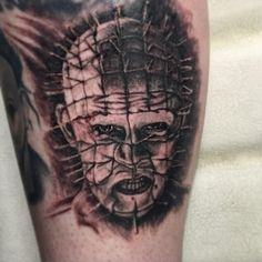 Pinhead. Horror Film Tattoo. Tempe, Arizona.