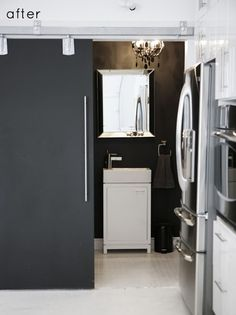 // chalkboard fridge. the kids would love this... so would i. :)
