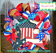 Patriotic Burlap Wreath by CharmedSouth #4thofjuly #GodBlessAmerica www.charmedsouth.etsy.com