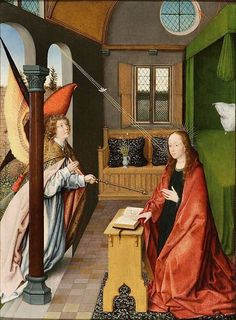 The Annunciation by Jan Provost, oil on panel, 52 x 39.7 cm.Dickinson Gallery, London and New York.