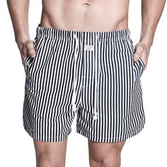 Penkivil Boxer Shorts in Navy Stripes | Campbell & Hall Sleepwear #campbellandhall #stripes #menswear #mensclothing #gifts #shorts