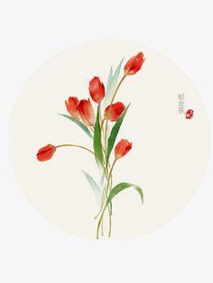 tulips illustration,chinese style illustration,hand-painted tulip,tulips,illustration,chinese,style,hand-painted,tulip