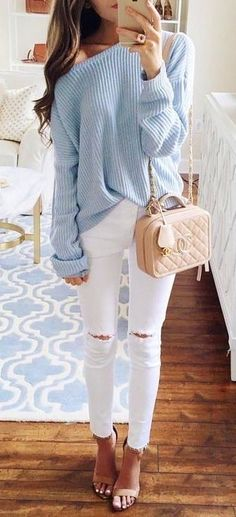 summer outfits  Blue One Shoulder Knit + White Ripped Skinny Jeans
