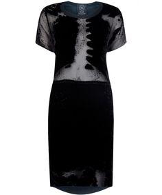 Black X-Ray Velvet T-Shirt Dress, Draw In Light