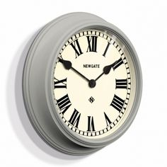 A modern classic, the Theatre wall clock creates a handsome focal point within a room. A deeply moulded case and traditional Roman dial are enclosed by a glass lens. Traditional Decor, Traditional Kitchen, Traditional House, Kitchen Clocks, Living Room Kitchen, Grey Wall Clocks, Interior Design Elements, Black Kitchens, Grey