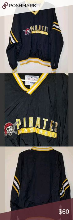 """🔥⚾Vintage Pittsburgh Pirates Starter Pullover Vintage Pittsburgh Pirates Starter Pullover Jacket  Size XXL  Excellent Condition!  Armpit to Armpit: 28""""  Full Length (Top of neck to bottom of jacket): 27""""   Thank you for looking!   Please message me with any questions you have! STARTER Jackets & Coats Windbreakers"""