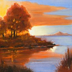 Paintings of lakes The Cove Lake scenes fall by KentJacobsonArtist