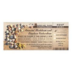 Destination Wedding Invitations beach wedding boarding pass tickets - invitations