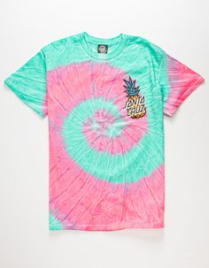 Santa Cruz pineapple at the left chest and screened on the back. Cute Tie Dye Shirts, Tie Die Shirts, Cut Shirts, Band Shirts, Camisa Tie Dye, Santa Cruz Shirt, Tie Dye Crafts, Shirt Makeover, How To Tie Dye