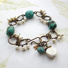 Turquoise Beaded bracelet, beaded brass bracelet, turquoise and pearL bracelet  - WHITE HORSES. £24.00, via Etsy.