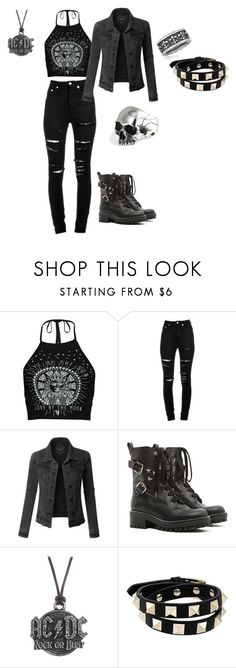 """""""Band in Black"""" by mikayla-crotts ❤ liked on Polyvore featuring Boohoo, Yves Saint Laurent, LE3NO, RED Valentino, AC/DC and Valentino"""
