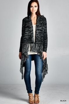 Black Speckled Cardigan Sweater with Fringe Detail - Sm to Lg - $45