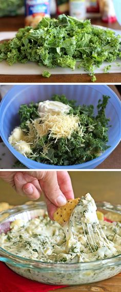 Produce 6 oz Kale 1 (14 ounce) can Progresso artichokes Baking & Spices 1 tsp Garlic salt Dairy 4 oz Cream cheese 1/2 cup Mozzarella cheese 1/2 cup Parmesan cheese 6 oz Yoplait greek plain yogurt Other 1 (5.5) ounce package Of food should taste good multigrain tortilla chips