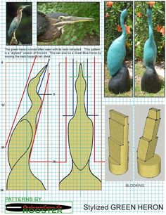 Chainsaw carving patterns free Stylized Green Heron. https://www.facebook.com/Bill.Sculptures.tronconneuse.Quebec
