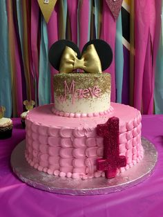 First Birthday pink and gold Minnie Mouse cake