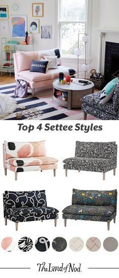 Settees and sofas will add instant life to a living room or shared space. Go for ones with lots of prints and colors. These kid-friendly furniture styles will add instant life to your home (not to mention hours of family relaxation).