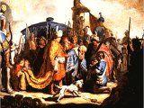 David with Goliath`s Head for Saul` by Rembrandt. Panel, 1627. Basle, ffentliche Kunstsammlung..