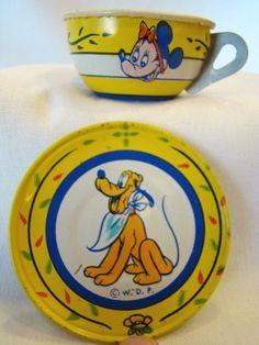 Adorable Old CHEIN Mickey Mouse Lithograph Tin CUP & SAUCER, Pluto, Walt Disney