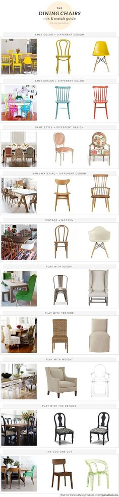 The dining chairs mix & match guide by My ParadissiYou can find Chairs and more on our website.The dining chairs mix & match guide by My Paradissi Decoration Inspiration, Dining Room Inspiration, Furniture Inspiration, Decor Ideas, Eames Design, Chair Design, Home Furniture, Furniture Design, Paint Furniture