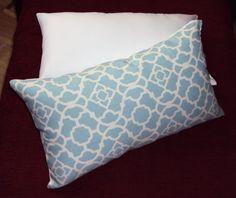 Light Blue Waverly Lattice Indoor Outdoor Lumbar Pillow by idari, $10.00