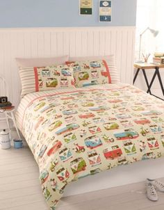 Campervans VW Scooter Retro Beige Green Blue Duvet Quilt Cover Bedding Set B King Size Duvet Sets, King Size Quilt Covers, Quilt Cover Sets, Cover Pillow, Double Duvet Set, Double Duvet Covers, Vw T1, Volkswagen Bus, Vw Syncro