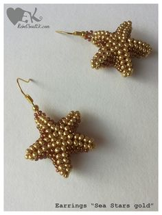 star fish beaded gold brass beach boho style RebelSoulEK earrings