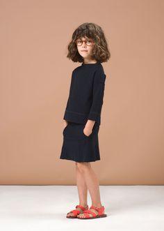 SS'16 Cumin Top & Chilli Pepper Skirt, Navy Textured Fleece, Caramel Baby & Child.