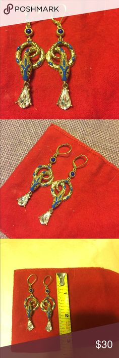 Snake 🐍 Earrings by Kenneth Jay Lane Snake 🐍 Earrings by Kenneth Jay Lane   Gold tone with blue accents and CZ drop. See photos for details. Very pretty and detailed. Excellent Condition Kenneth Jay Lane Jewelry Earrings