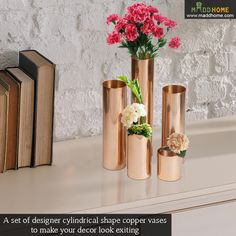 Cylindrical Shaped Aluminium Lacquered Vase - Set of 5  Order Now: https://www.maddhome.com/cylindrical-shaped-aluminium-lacquered-vase-set-of-5.html