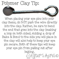 Polymer Clay Tip: Securing Eye Pins into Clay,+ more polymer clay tutorials, tips, & tricks Fimo Polymer Clay, Polymer Clay Christmas, Polymer Clay Projects, Polymer Clay Creations, Polymer Clay Jewelry, Clay Crafts, Dyi Crafts, Clay Earrings, Biscuit