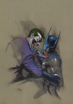 Batman vs Joker By Gabriele Dell'Otto #Comics #Illustration #Drawing