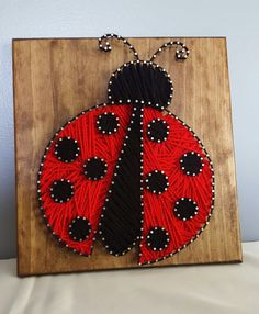 Handmade Ladybug String Art Cute Wall Decor by Kristiestringart