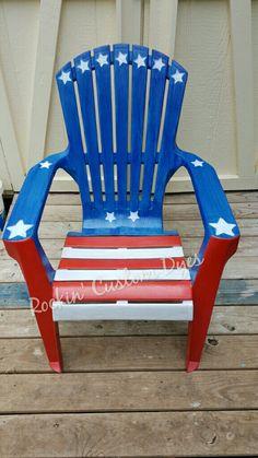 Unicorn spit over plastic arandek chair. Red, white and blue 13 stars. RCD070916