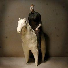 black and white - woman with horse - figurative sculpture - Anna Kozłowska- Łuc New Artists, Ceramic Art, Lion Sculpture, Sculpture Ideas, A Team, Folk Art, Pottery, Horses, Statue
