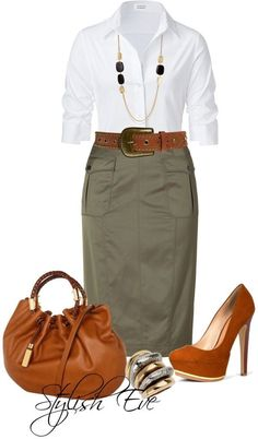 Fashion Tips Moda .Fashion Tips Moda Fall Outfits, Casual Outfits, Cute Outfits, Fashion Outfits, Womens Fashion, Fashion Trends, Work Outfits, Khaki Skirt Outfits, Fashionable Outfits