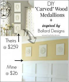 "DIY ""Carved"" Wood Medallions {inspired by - Ballard Designs}"