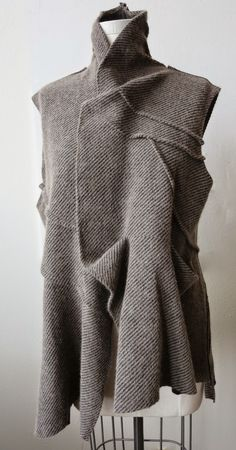 Innovative Pattern Cutting - draped jacket with pressed tucks; fabric…