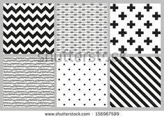 Set of 6 black and white Scandinavian trend seamless pattern - black cross, polka dots, chevrons, stripes, arrow and branch background. - stock vector